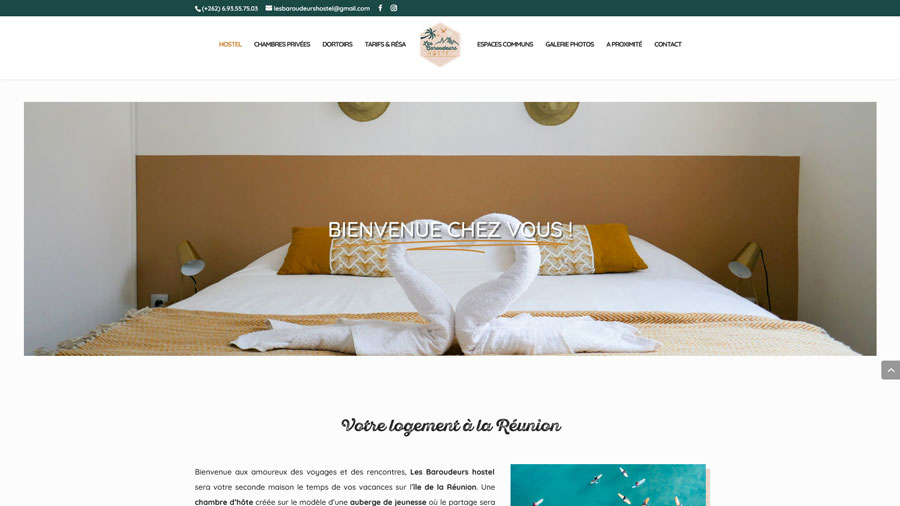 Les Baroudeurs Hostel - Création du site internet - Idioma Production